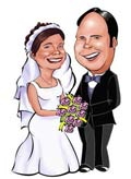 Wedding couple caricature, Hand drawn or digital with a vehicle of your choice drawn from separate photos.