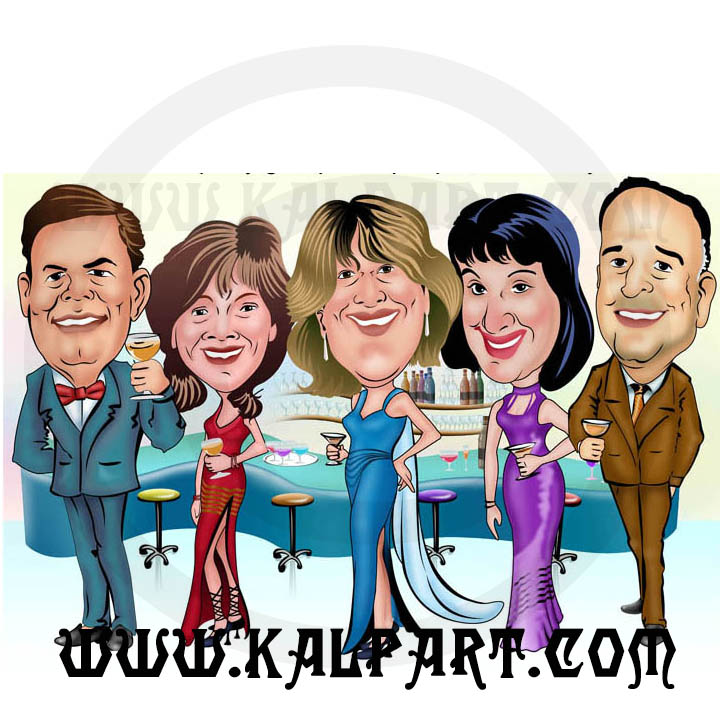 Group Party Caricature