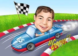 Kid Caricature with racing car www.kalpart.com