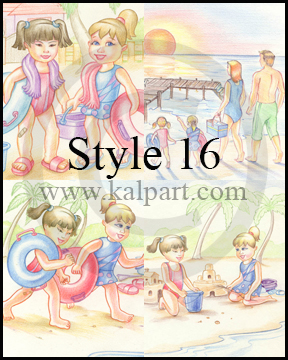 www.kalpart.com Kids-Storybook-Illustrations-little-girls-at-beach-family-picnic-mudhouse