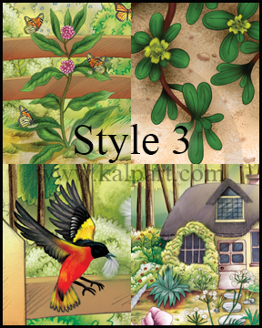 www.kalpart.com Children-Storybook-Illustrations-kids-flowers-birds-butterfly